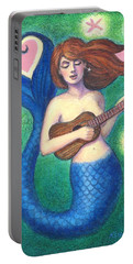 Portable Battery Charger featuring the painting Heart Tail Mermaid by Sue Halstenberg