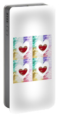 Portable Battery Charger featuring the digital art Heartful by Ann Calvo