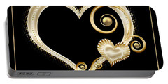 Hearts In Gold And Ivory On Black Portable Battery Charger