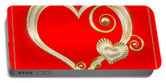 Hearts In Gold And Ivory On Red Portable Battery Charger