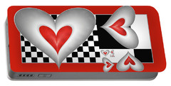 Hearts On A Chessboard Portable Battery Charger