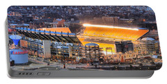 Heinz Field At Night Portable Battery Charger by Adam Jewell