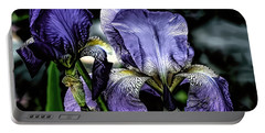 Heirloom Purple Iris Blooms Portable Battery Charger