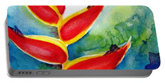 Heliconia - Abstract Painting Portable Battery Charger by Carlin Blahnik