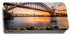 Hell Gate And Triboro Bridge At Sunset Portable Battery Charger by Mihai Andritoiu