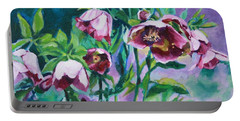 Hellebore Flowers Portable Battery Charger by Jan Bennicoff