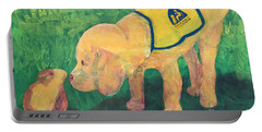 Portable Battery Charger featuring the painting Hello - Cci Puppy Series by Donald J Ryker III