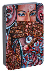 Portable Battery Charger featuring the painting Henna by Harsh Malik