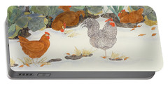 Hens In The Vegetable Patch Portable Battery Charger by Linda Benton