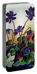 Hepatica After A Design By Anne Wilkinson Portable Battery Charger by Veronica Rickard