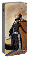 Her And Him Fashion Illustration Portable Battery Charger by Georges Barbier