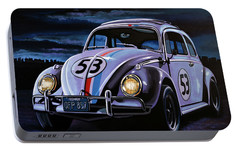 Herbie The Love Bug Painting Portable Battery Charger by Paul Meijering