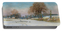 Herding Sheep In Wintertime Portable Battery Charger