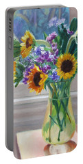 Here Comes The Sun- Sunflowers By The Window Portable Battery Charger