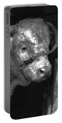 Hereford Bull In Black And White Portable Battery Charger