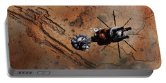 Portable Battery Charger featuring the digital art Hermes1 With The Mars Lander Ares1 In Sight by David Robinson