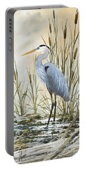 Heron And Cattails Portable Battery Charger