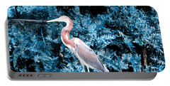 Heron In Blue Portable Battery Charger
