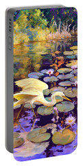 Heron In Lily Pond Portable Battery Charger by David  Van Hulst