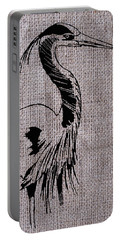 Heron On Burlap Portable Battery Charger