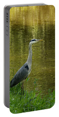 Heron Statue Portable Battery Charger by Georgia Mizuleva