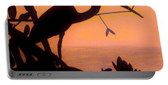 Portable Battery Charger featuring the drawing Heron Sunset by D Hackett