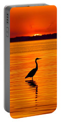 Heron With Burnt Sienna Sunset Portable Battery Charger