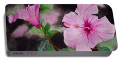 Portable Battery Charger featuring the painting Hibiscus - So Pretty In Pink by Sher Nasser