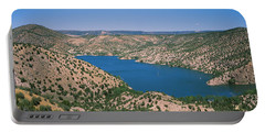 High Angle View Of A Lake Surrounded Portable Battery Charger