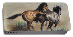 Portable Battery Charger featuring the painting High Tailin' It by Kim Lockman