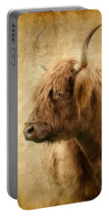Highland Bull Portable Battery Charger by Athena Mckinzie