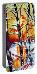 Highland Creek Sunset 2  Portable Battery Charger by Inese Poga