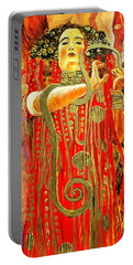 Higieja-according To Gustaw Klimt Portable Battery Charger by Henryk Gorecki