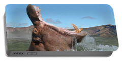 Hippopotamus Bursting Out Of The Water Portable Battery Charger