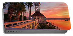 Historic Bridge Street Pier Sunrise Portable Battery Charger by HH Photography of Florida