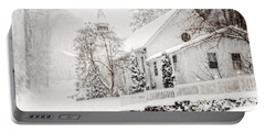 Portable Battery Charger featuring the photograph Historic Church In Oella Maryland During A Blizzard by Vizual Studio