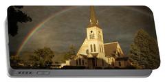 Historic Methodist Church In Rainbow Light Portable Battery Charger