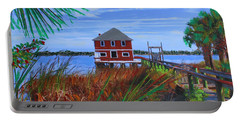 Portable Battery Charger featuring the mixed media Historic Ormond Boathouse by Deborah Boyd