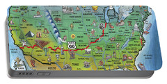 Historic Route 66 Cartoon Map Portable Battery Charger