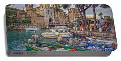 History At Lake Garda Portable Battery Charger by Hanny Heim