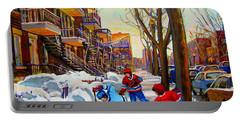 Hockey Art - Paintings Of Verdun- Montreal Street Scenes In Winter Portable Battery Charger