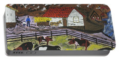 Portable Battery Charger featuring the painting Hog Heaven Farm by Jeffrey Koss