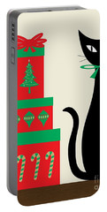 Holiday Cat 2 On Cream Portable Battery Charger