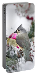 Holiday Cheer With A Titmouse Portable Battery Charger by Christina Rollo
