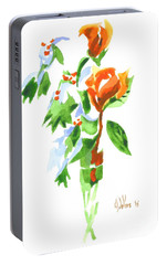 Portable Battery Charger featuring the painting Holly With Red Roses In A Vase by Kip DeVore