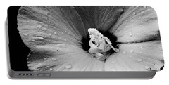 Hollyhock In Black And White Portable Battery Charger