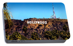Hollywood Sign Portable Battery Charger by Az Jackson