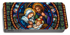 Portable Battery Charger featuring the painting Holy Family Christmas Story by Randy Wollenmann