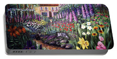 Portable Battery Charger featuring the painting Home Garden by Lynn Buettner