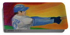 Portable Battery Charger featuring the drawing Home Run Swing Baseball Batter by First Star Art